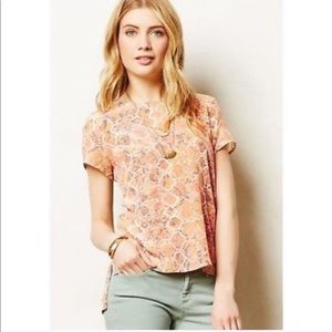 Anthropologie Flynn & Rose Snake Print Silk Top